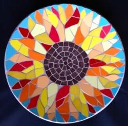 A beautiful mosaic sunflower bowl