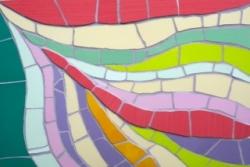 Mosaic retro wave pattern wall hanging