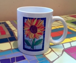Mosaic sunflower design  mug