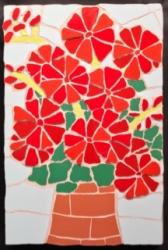 Mosaic red geraniums wall hanging