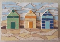 Colourful beach huts mosaic