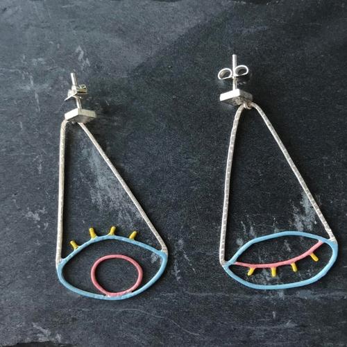 Drop Colored Eye Earrings