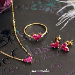 ハート ネックレス ダイヤ 赤 ペンダント&ピアス&リング3点セット 彼女 プレゼント ネックレス 人気