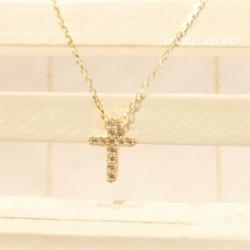 クロスネックレス 縦 K14 ゴールド ネックレス クロスペンダント シンプル 十字架 ダイヤ付き 華奢 女性 誕生日・クリスマスプレゼントに