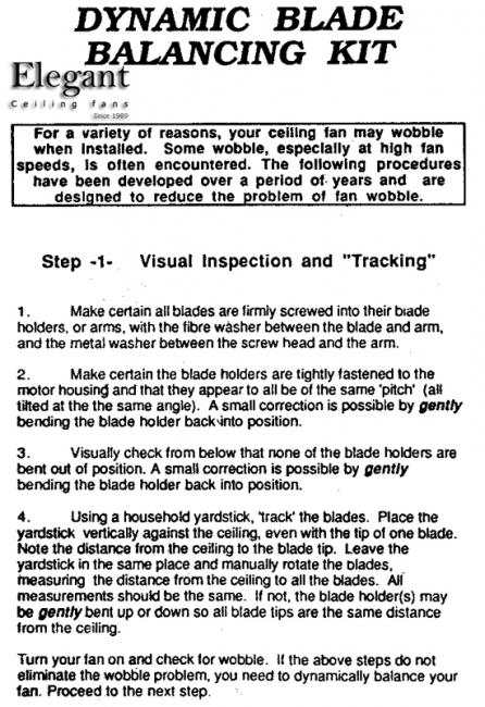 Ceiling Fan Balancing Instructions