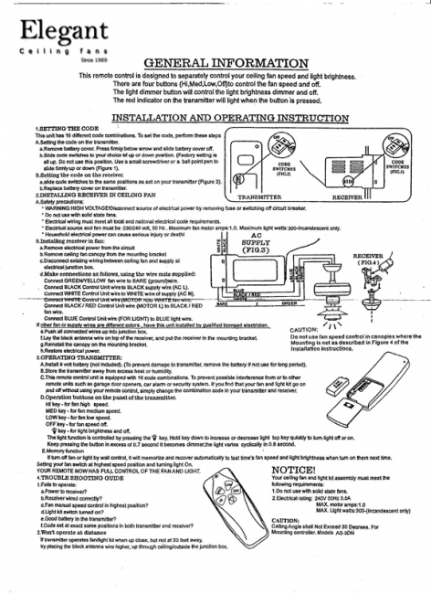 Installation Instructions - Remote Control