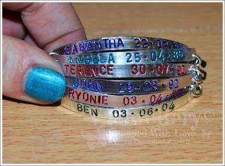 Personalised 6 Multi-Plate Hand Stamped Bracelet