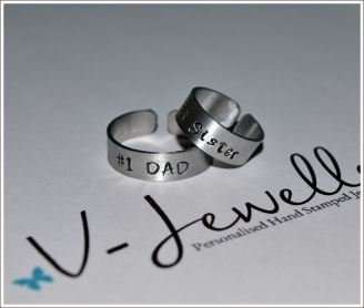 #1 Family Hand Stamped Band Ring *Higher Quality*