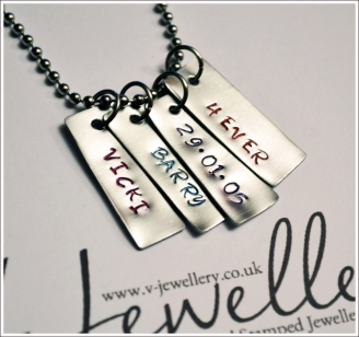 Personalised Mini Tags Hand Stamped Pendant 20""