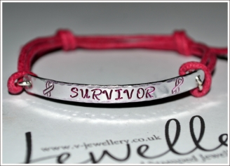 "Awareness ""Survivor"" Hand Stamped Textured Hammered Bracelet"