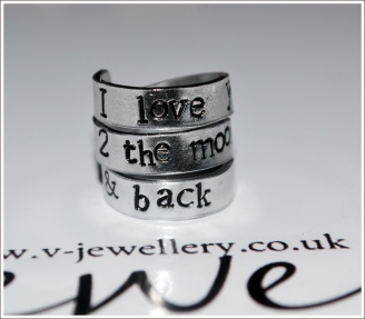 """I love you 2 the moon and back"" Hand Stamped 3 Wrap Ring"