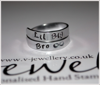 Brother Hand Stamped Wrap Rings
