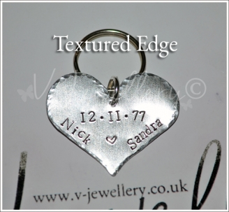 Personalised Hand Stamped Textured Hammered Heart Keyring