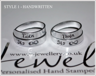 Twin Sister Hand Stamped Wrap Ring Set