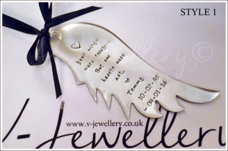Personalised Hand Stamped XXL Angel Wing Hanging Keepsake