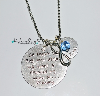 """Stole My Heart & Changed My Name"" Personalised Charm Pendant ~ 20"""