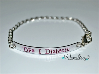 Type 1 Diabetic Hand Stamped Chain Bracelet