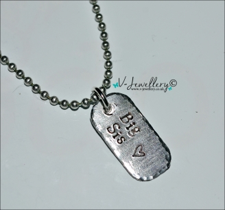 "Sister Hand Stamped Mini Dog Tag Pendant 20"" *Stainless Steel*"