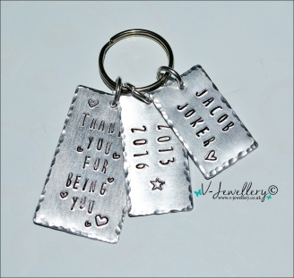 Personalised Rectangle Multi Tags Hand Stamped Keyring