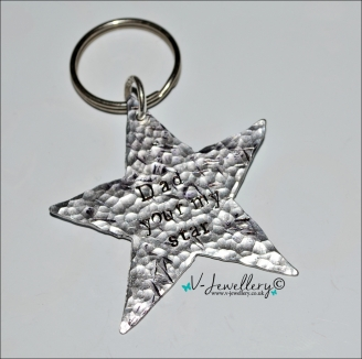 Personalised Hand Stamped Textured Hammered Star Keyring