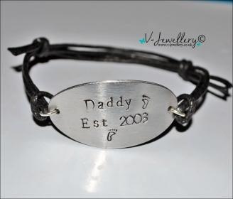 Daddy Established Hand Stamped Large Oval Cuff Bracelet
