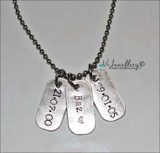 "Personalised Hand Stamped Mini Dog Tags Pendant 20"" *Stainless Steel*"