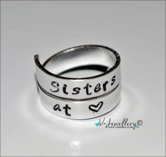 """Sisters at Heart"" Hand Stamped 2 Wrap Ring"