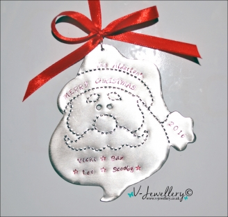 Personalised Etched XL Santa Face Christmas Decoration