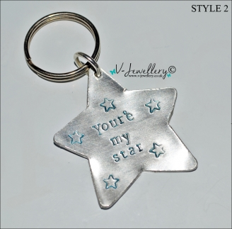 Personalised Hand Stamped Star Keyring *2 Styles Available*