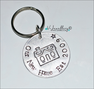 "Personalised Etched ""New Home"" Disc Keyring"
