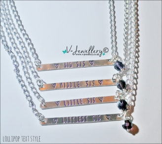 """Sisters Hand Stamped Pendant ~ 18-20"""""""