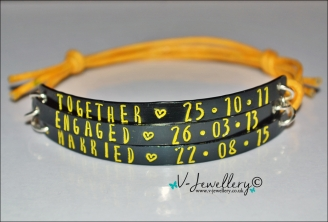 Together... Engaged...  Married Triple Multi-Plate Bracelet