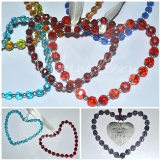 Personalised Glass Beaded Heart Hanging Keepsake