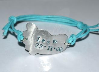 Personalised Large Embossed Baby Foot Bracelet