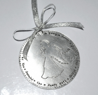 "Personalised XL Disc ""Angel"" Hanging Keepsake *Stitched Effect*"