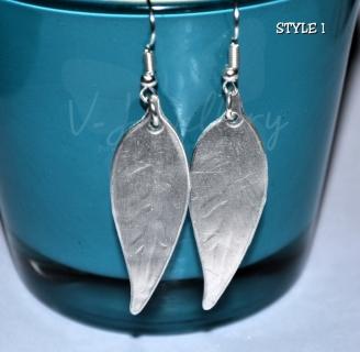 Embossed Leaf Dangle Earrings
