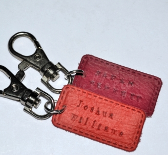 Personalised Genuine Leather School Bag Tags *Stitched Effect*
