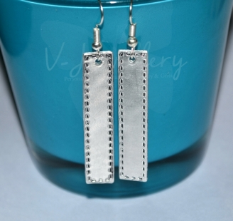 Stitched Effect Dangle Long Rectangle Earrings