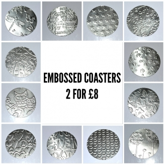 Set of 2 Embossed Coasters *Various Designs Available*