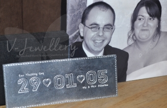 """Personalised Stitched Effect Xl """"Date"""" Plaque *Various Designs Available*"""