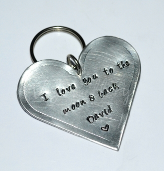 Personalised Hand Stamped Large Heart Keyring *Various Styles Available*