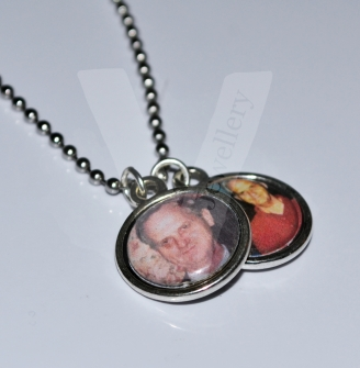 """Personal Double Sided Photo Charm Pendant *20"""" Stainless Steel Ball Chain*"""