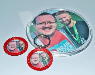 Personal Photo Keyring/Magnet/Coaster Matching Gift Set