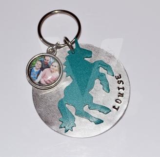 Personalised Layered Coloured Unicorn Keyring