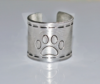 Large Paw Print Wide Band Ring *Stitched Effect*