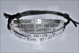 Personalised 5 Multi-Plate Hand Stamped Bracelet