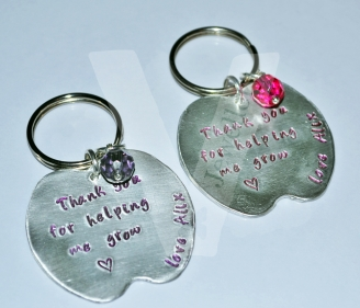 Personalised Hand Stamped Apple Keyring