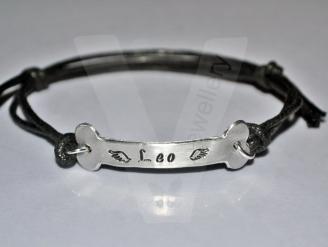 Personalised Hand Stamped Dog Bone Bracelet