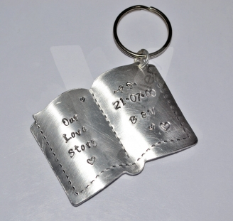 Personalised Etched Large Open Book Keyring