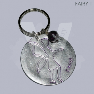 Personalised Large Etched Fairy Disc Keyring *3 Designs Available*